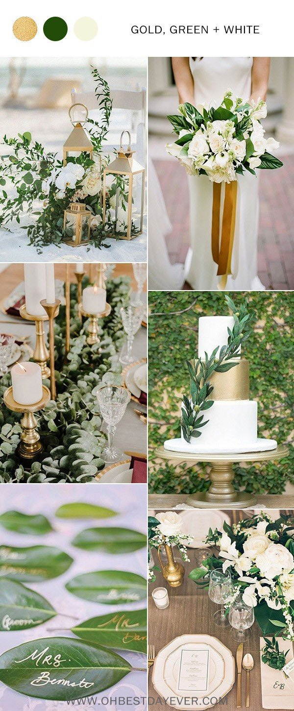 green gold and white wedding color ideas