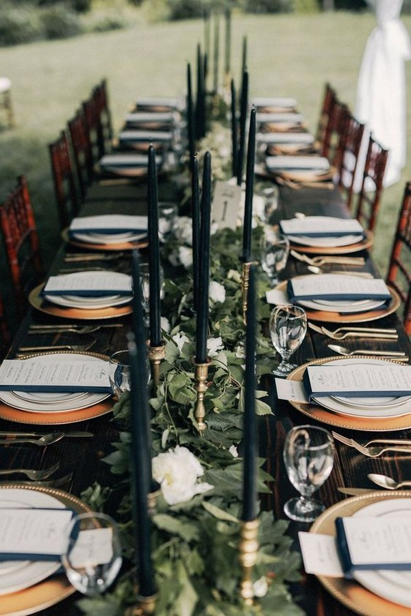 greenery and gold wedding reception ideas in the forest