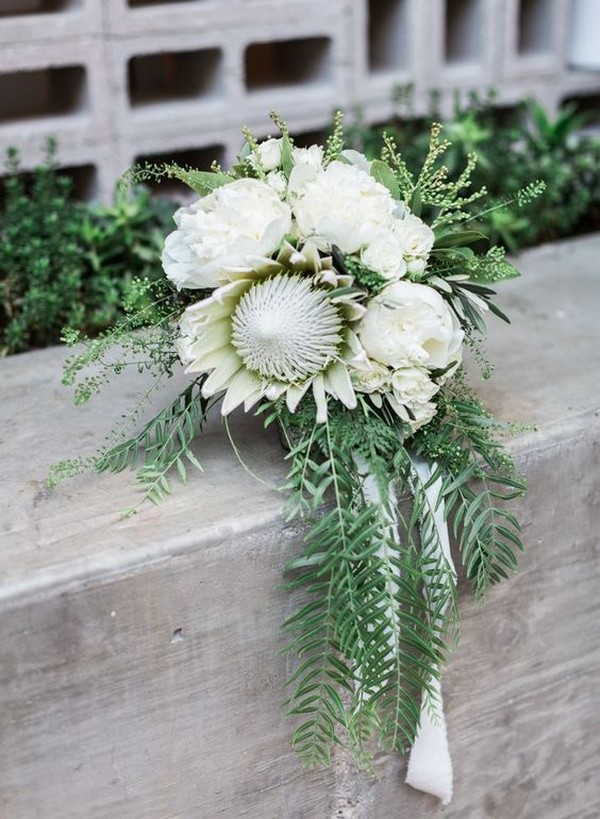 greenery and white protea wedding bouquet