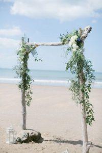 greenery beach wedding arch