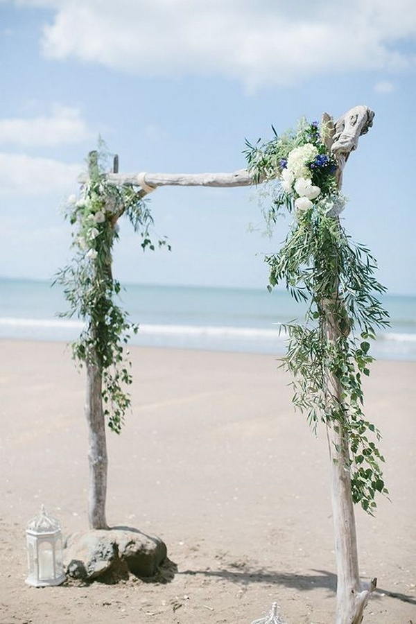 greenery beach wedding arch