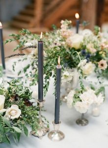 greenery wedding table decorations with dusty blue taper candles