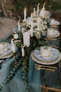 greens and blues wedding tablescape ideas with candles
