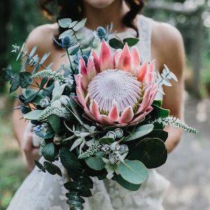 king protea trending wedding bouquet