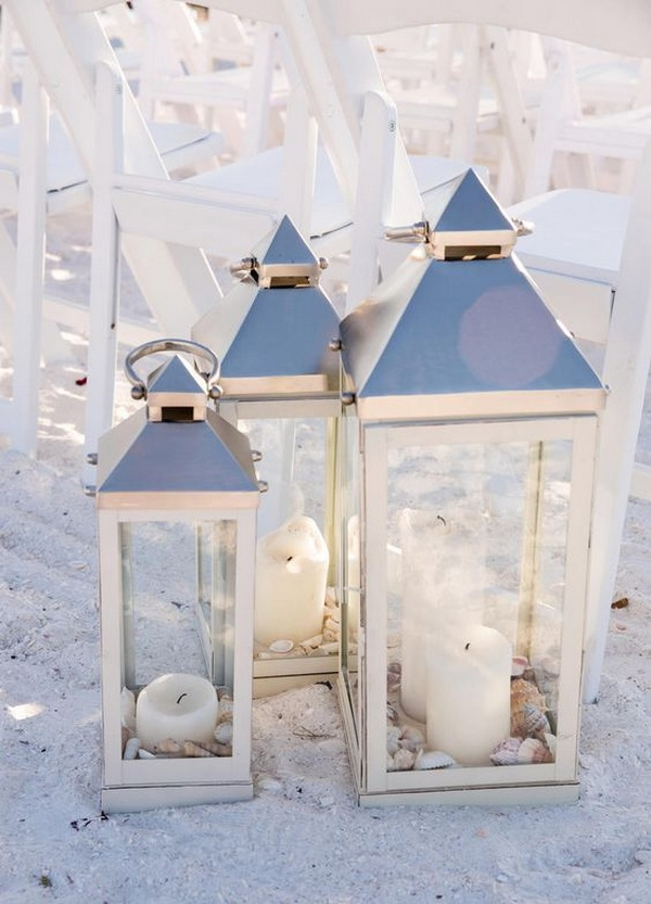lantern and candles wedding aisle ideas