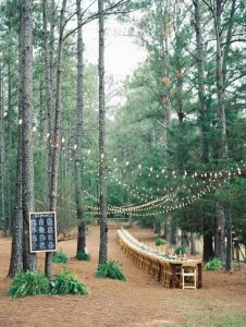 long table wedding reception ideas in the forest