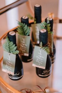 mini champagnes for winter wedding favors