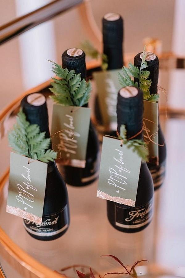 mini champagnes for winter wedding favors