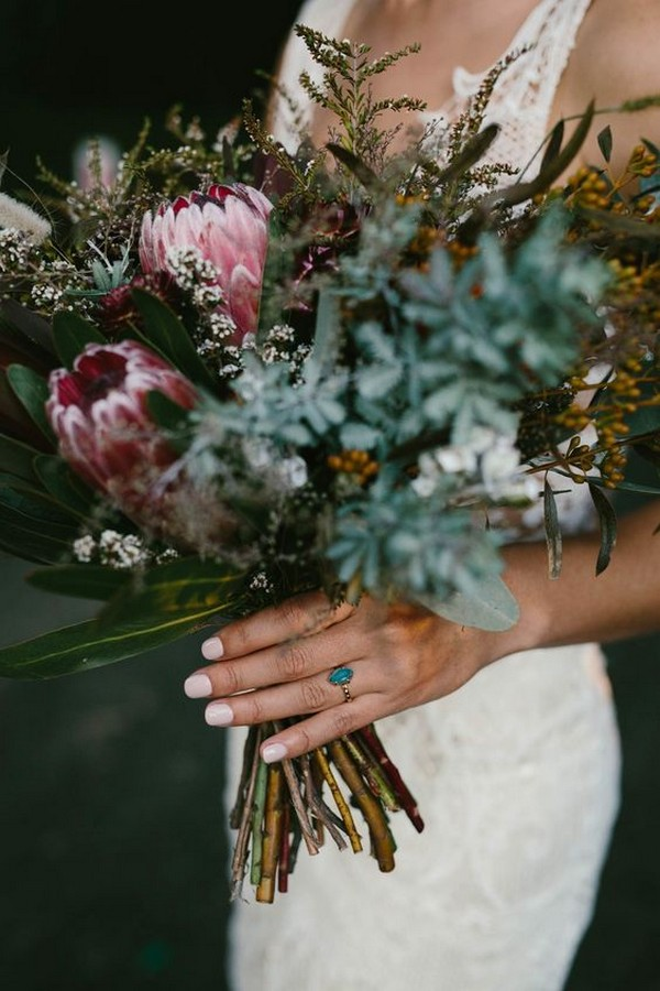 moody fall wedding bouquet ideas with proteas