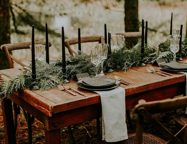 moody forest themed wedding reception ideas