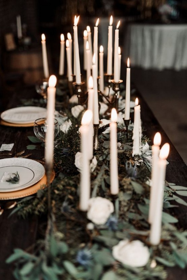 moody wedding decoration ideas with taper candles