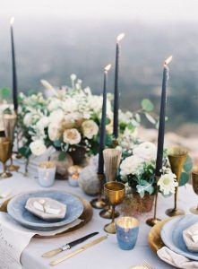 moody wedding table setting ideas with slate blue candles