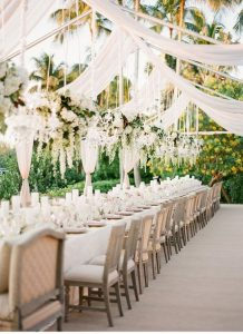 outdoor wedding reception ideas with ivory draping