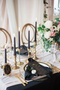 pink and black wedding table decoration ideas