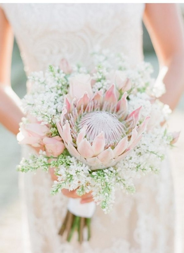 pink king protea wedding bouquet