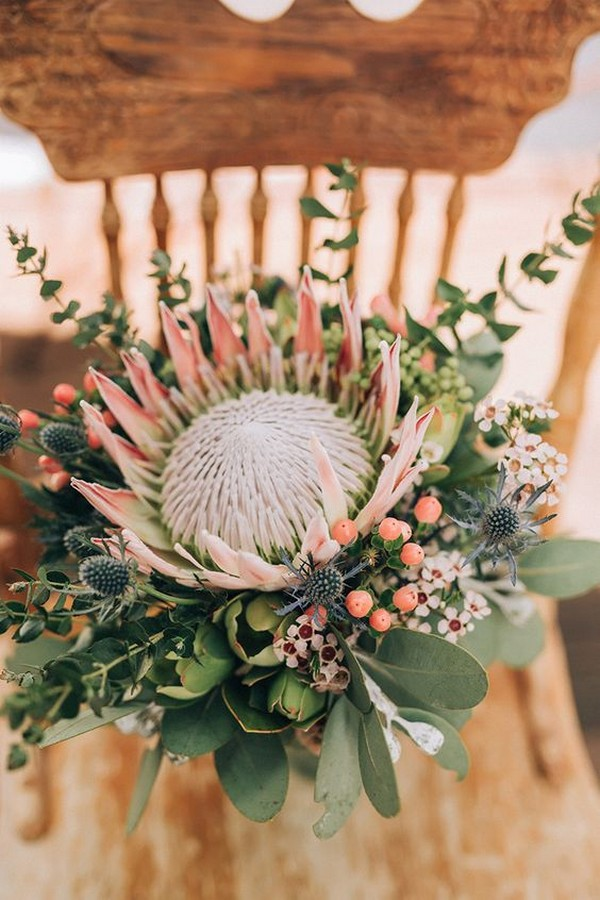 protea and Australia native wedding bouquet