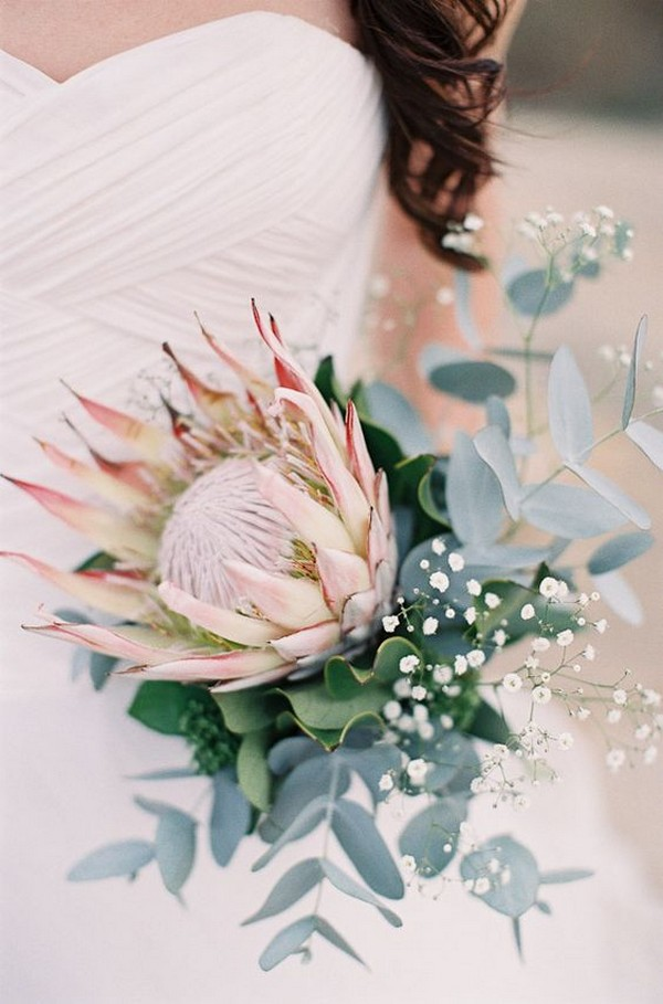 protea eucalyptus and baby's breath wedding bouquet