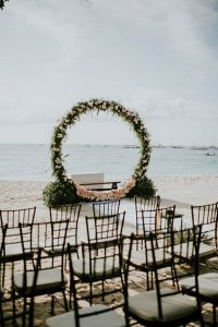 round garland beach wedding arch ideas