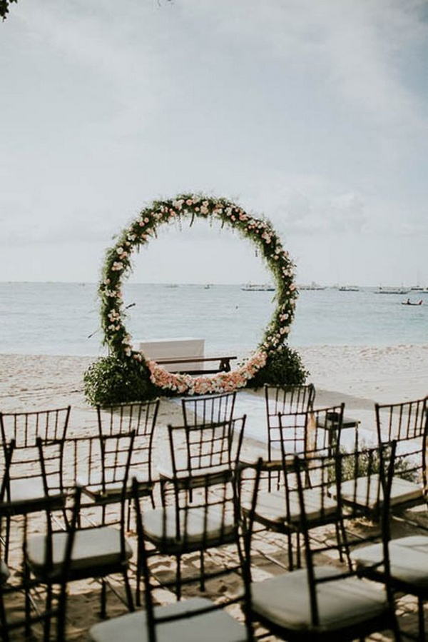 round garland beach wedding arch ideas