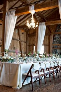 rustic wedding reception ideas with chandeliers and white draping