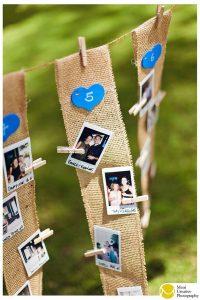 rustic wedding seating plan ideas with Polaroid photos