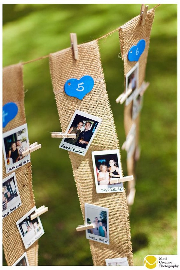 rustic wedding seating plan ideas with Polaroid photos
