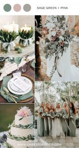 sage green and pink wedding color ideas for spring 2019