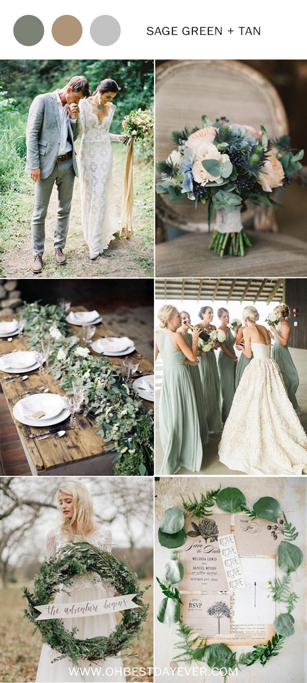sage green and tan wedding color ideas