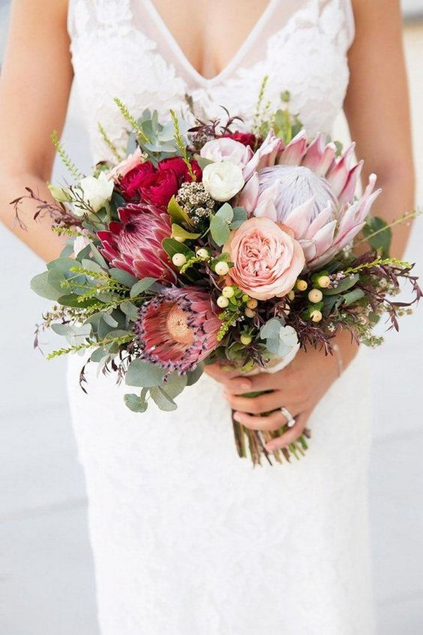 shades of pink proteas wedding bouquet