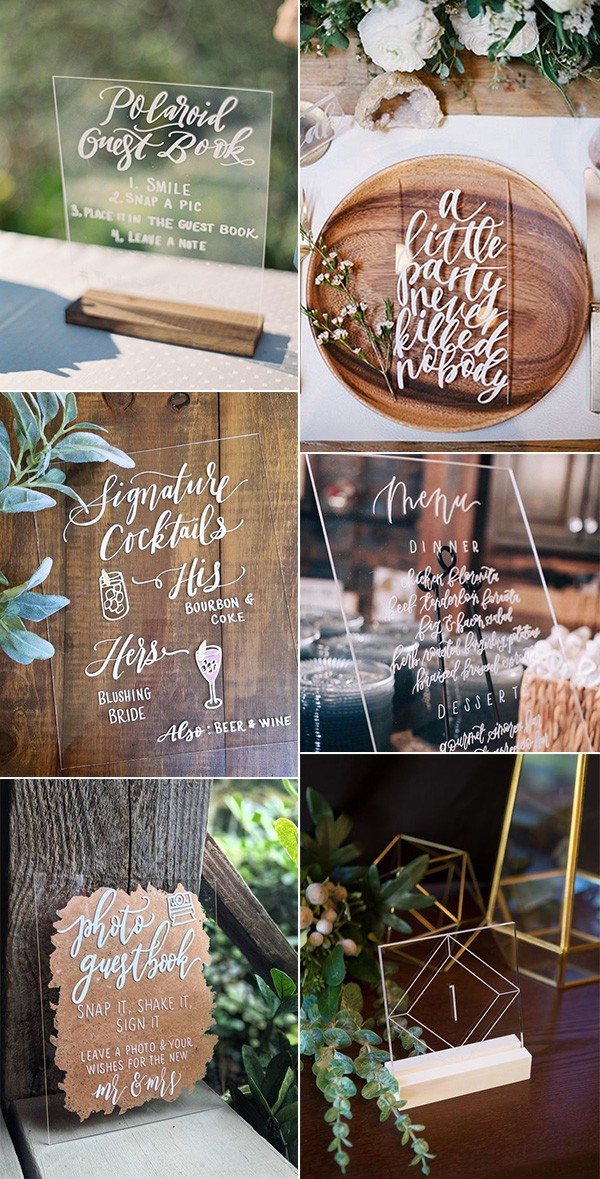 trending acrylic wedding sign ideas