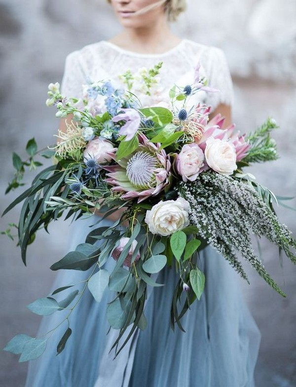 trending lush proteas wedding bouquet