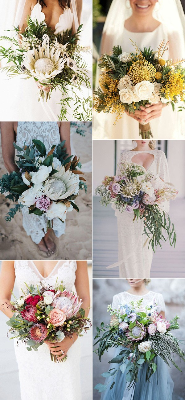 trending proteas wedding bouquet ideas