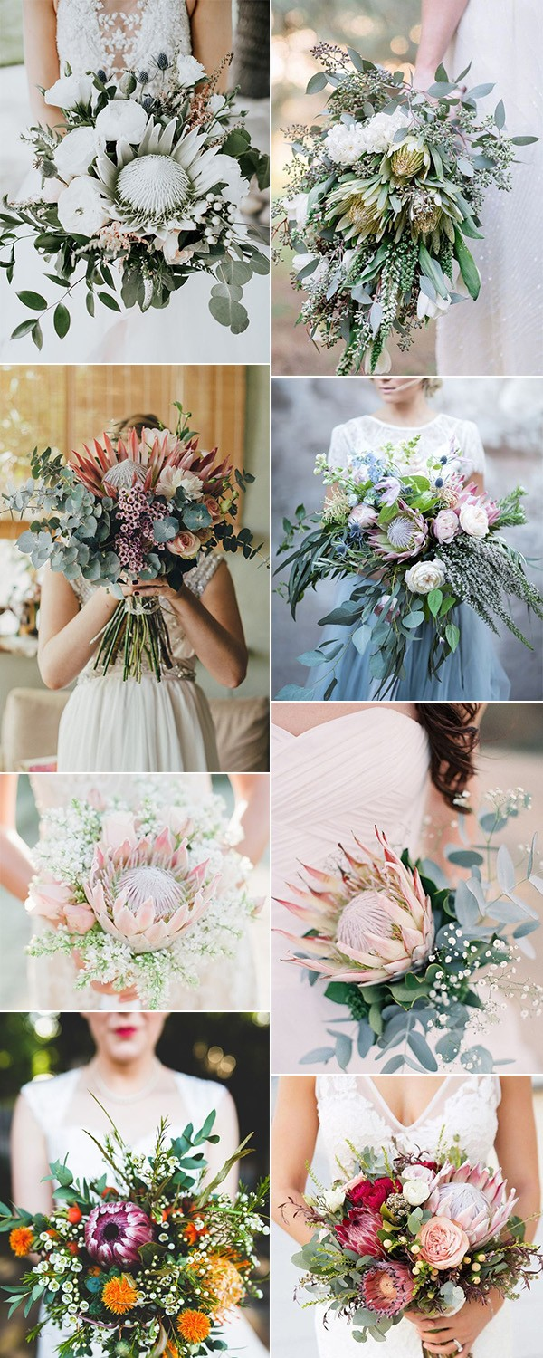 trending wedding bouquet ideas with proteas