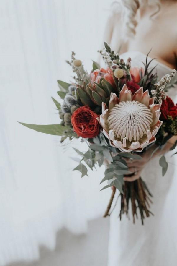 trending wedding bouquet with protea