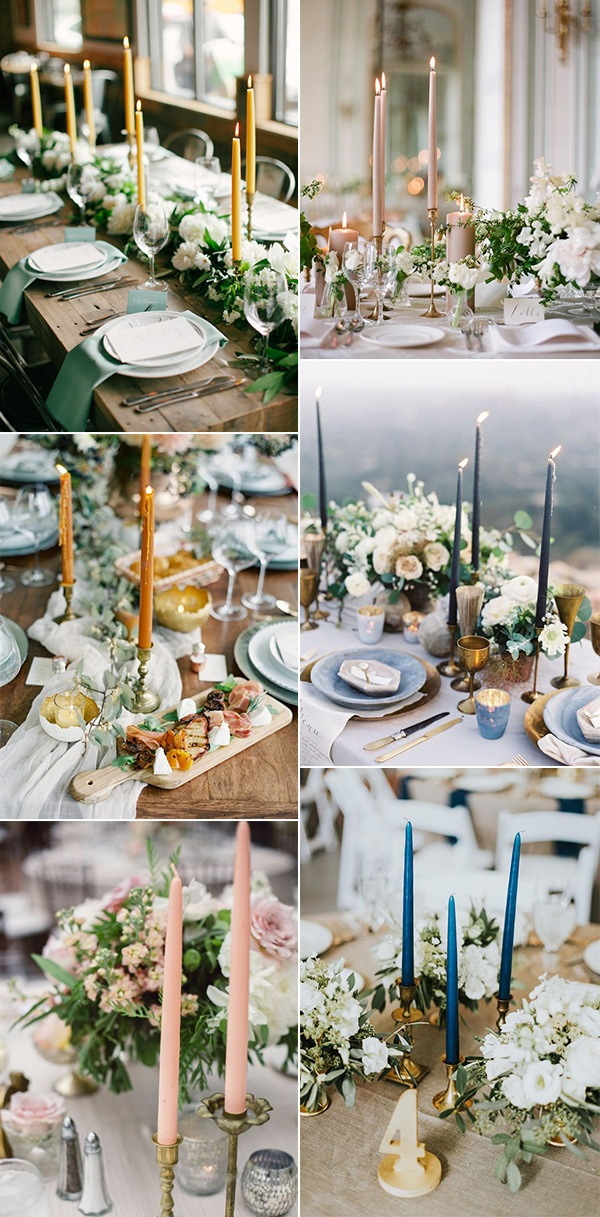 trending wedding centerpiece ideas with taper candles
