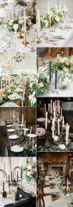 trending wedding table decoration ideas with taper candles