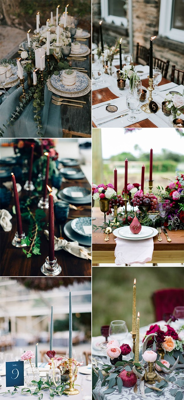 vintage wedding centerpieces with taper candles for 2019