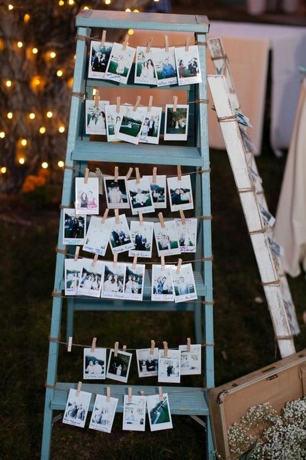vintage wedding photo display ideas with ladders