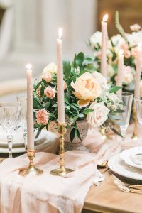 wedding centerpiece ideas with pink taper candles