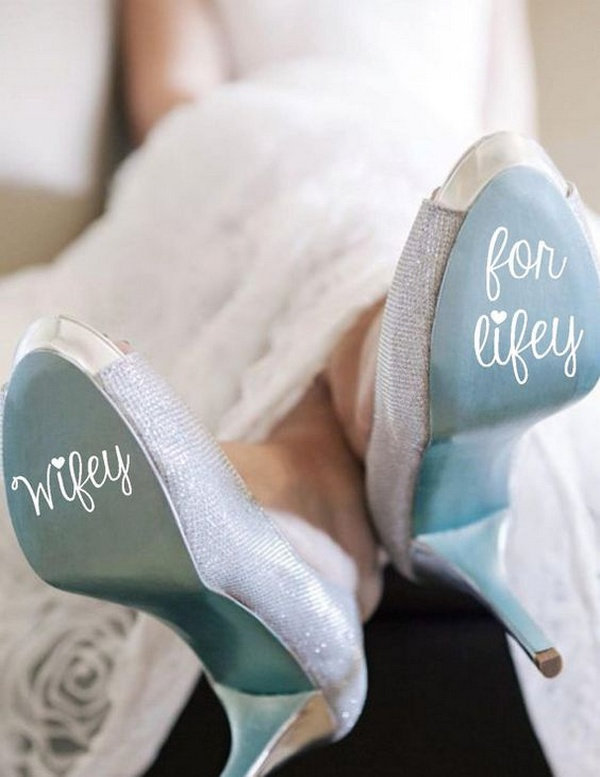 wedding shoes with DIY calligraphy