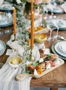 wedding table decoration ideas with yellow taper candles