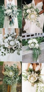 white and greenery wedding bouquets with proteas