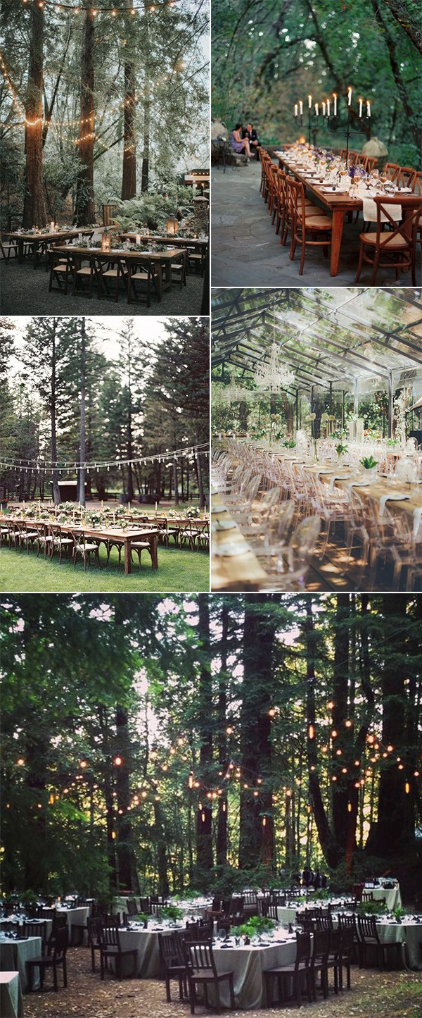 woodland forest wedding reception ideas with lights