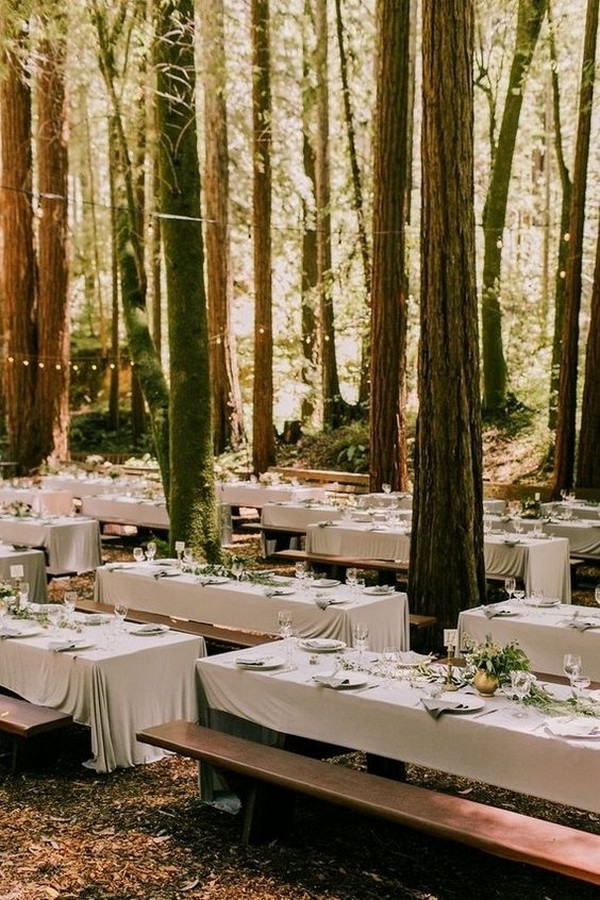 woodland forest wedding reception table settings