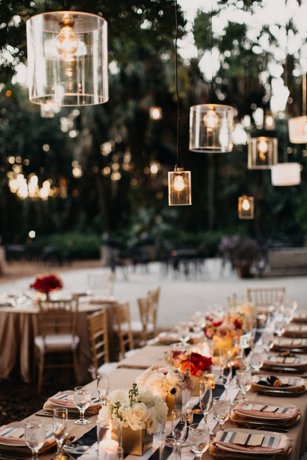 backyard wedding reception ideas with hanging lights