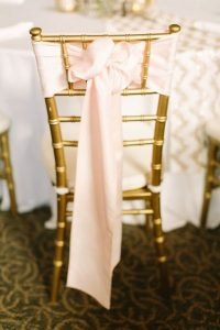 blush and gold wedding chair decoration ideas with fabric