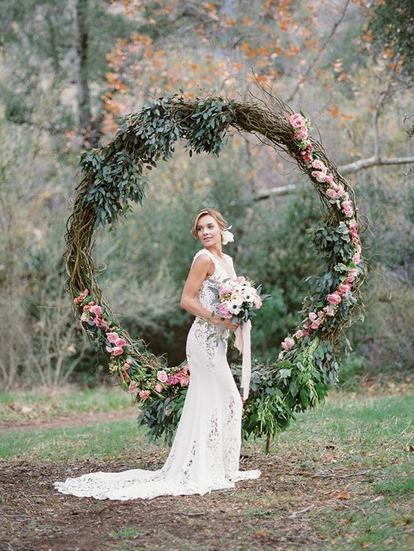 boho chic circular wedding arch