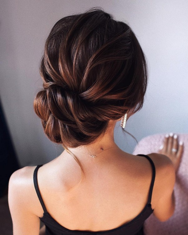 boho chic twist updo wedding hairstyle