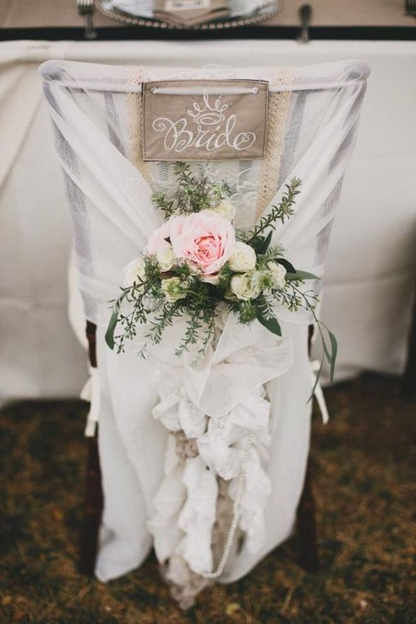bride wedding chair decoration ideas with fabric and floral