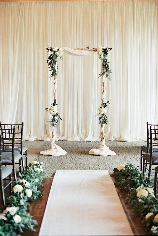 chic elegant ivory and greenery wedding ceremony decoration ideas